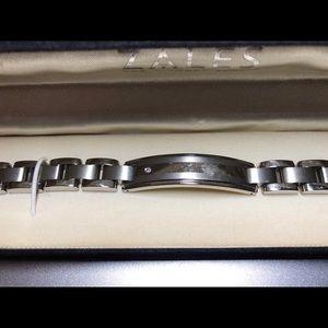 Zales: Diamond Stud Titanium Bracelet